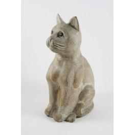 Chat assis blanc sculpté en bois de Suar - 25x13