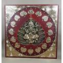 Tableau Ganesh Rouge et Or - 60x60 - TB043