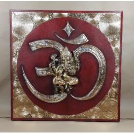 Tableau Ganesh Rouge et Or - 60x60 - TB046