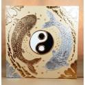 Tableau Carpe Koï Ying Yang Crème et Or / Argent - 60x60 - TB044