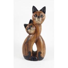 Couple de Chat assis sculpté en bois de Suar - 30x14