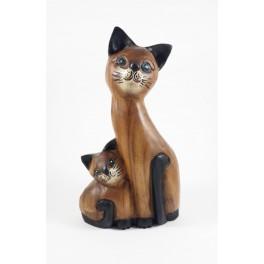 Chat et son Petit assis sculpté en bois de Suar - 30x17