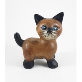 chat debout sculpté en bois de Suar - 15x14