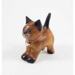 Petit chat sculpté en bois de Suar - N°59