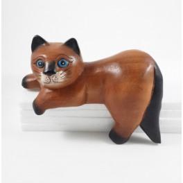 Chat coucher en bois de suar 20X15