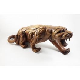 Panthère sculpté en bois de Suar- 47x18- Droite