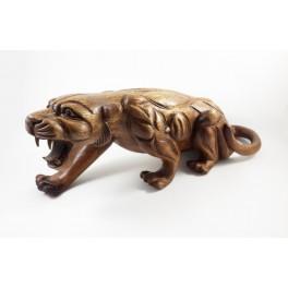 Panthère sculpté en bois de Suar- 47x18- Gauche