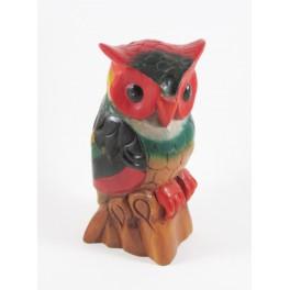 Hibou Coloré Perché sculpté en bois de Suar - 23x11