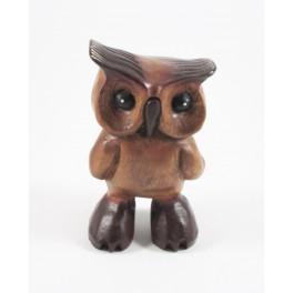 Hibou sculpté en bois de Suar - 18x10