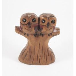 Couple de chouettes sur Branche sculpté en bois de Suar - 17x14
