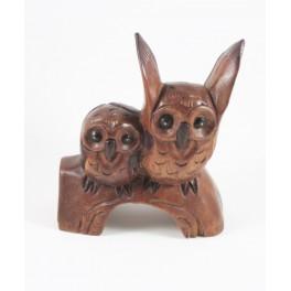 Couple de chouettes sur Branche sculpté en bois de Suar - 19x16