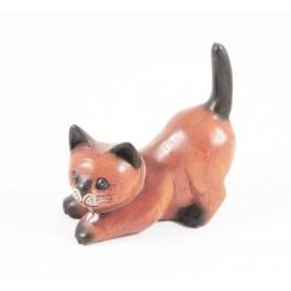 chat Joueur Gauche sculpté en bois de Suar - 14x14