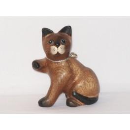 Petit chat sculpté en bois de Suar N°2