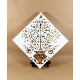 Tableau Fleur Blanc et Or - 30X30 - TB051