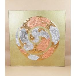 Tableau Spiral dorée et Or / Argent - 30X30 - TB054