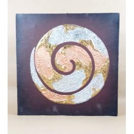 Tableau Spiral Noir et Or / Argent - 30X30 - TB055