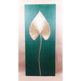 Tableau Feuille de Bouddha Vert et Or - 70X30 - TB059