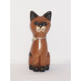 Petit chat sculpté en bois de Suar N°3