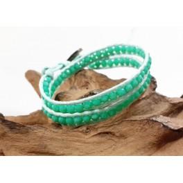 Bracelet Ethnique 2 Tours Bleu et Cristaux Vert - BR078