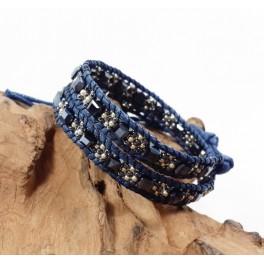 Bracelet Ethnique 2 Tours Bleu et Cristaux Noir - BR079