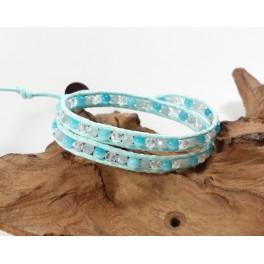 Bracelet Ethnique 2 Tours Bleu, Cristaux et Oeil de Chat, - BR080