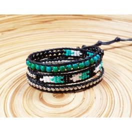 Bracelet Ethnique 3 Tours Noir, Perles et Chrysocolle - BR081