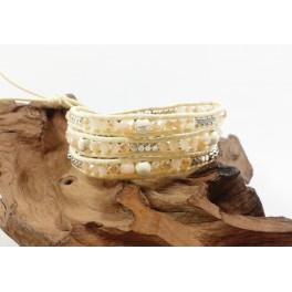 Bracelet Ethnique 3 Tours Crème, Cristaux et Howlite - BR082
