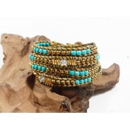 Bracelet Ethnique 4 Tours Marron, Perle de laiton, Turquoise - BR085