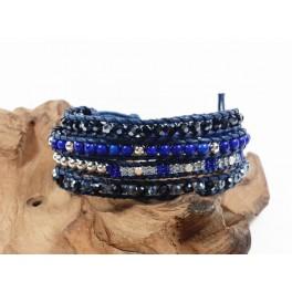 Bracelet Ethnique 4 Tours Bleu, Cristaux et Pierres - BR087
