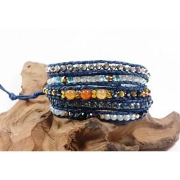 Bracelet Ethnique 5 Tours Bleu, Cristaux et Agate - BR091
