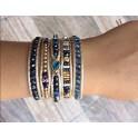 Bracelet Ethnique 5 Tours Beige, Cristaux et perles de laiton - BR092