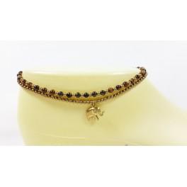 Bracelet de cheville avec perles de laiton et Pierre Oeil de Tigre - BRC001