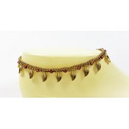 Bracelet de cheville avec perles de laiton et Pierre de Soleil - BRC002