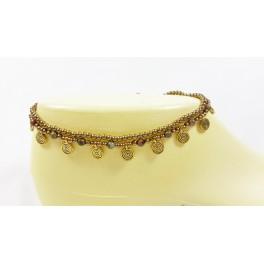 Bracelet de cheville avec perles de laiton et Pierre Unakite - BRC003