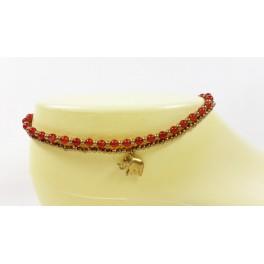 Bracelet de cheville avec perles de laiton et Cornaline - BRC004