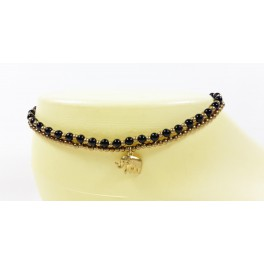 Bracelet de cheville avec perles de laiton et Onyx - BRC005