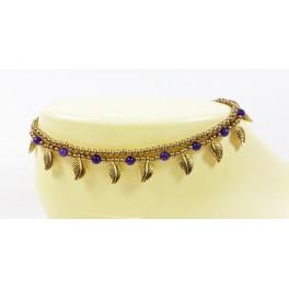 Bracelet de cheville avec perles de laiton et Améthyste - BRC006