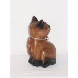 Petit chat sculpté en bois de Suar N°6
