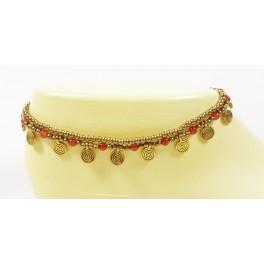 Bracelet de cheville avec perles de laiton et Cornaline - BRC007
