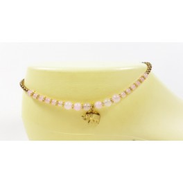 Bracelet de cheville avec perles de laiton et Quartz Rose - BRC008