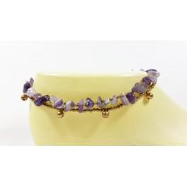 Bracelet de cheville avec perles de laiton et Améthyste - BRC009