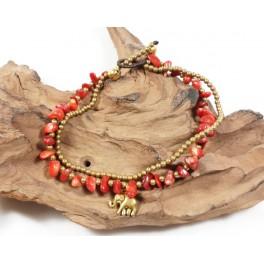 Bracelet de cheville avec perles de laiton et Corail - BRC010