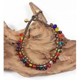 Bracelet de cheville en laiton et perles indiennes - BRC011