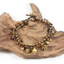 Bracelet de cheville en laiton et Oeil de Tigre - BRC013