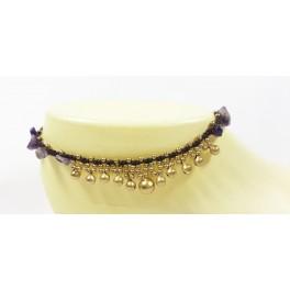 Bracelet de cheville en laiton et Améthyste - BRC016