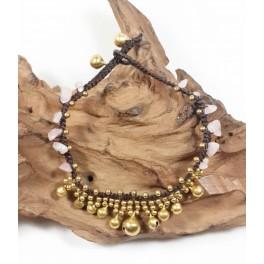 Bracelet de cheville en laiton et Quartz Rose - BRC017