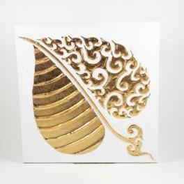 Tableau Feuille de Bouddha Blanc et Or gauche - 30X30 - TB063