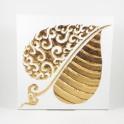 Tableau Feuille de Bouddha Blanc et Or Droit - 30X30 - TB064
