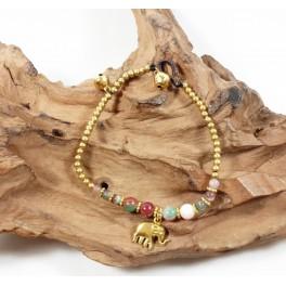Bracelet Ethnique en laiton et Pierres Multicolores - BR093
