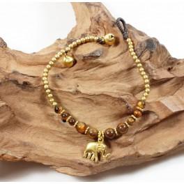 Bracelet Ethnique en laiton et Oeil de Tigre - BR094